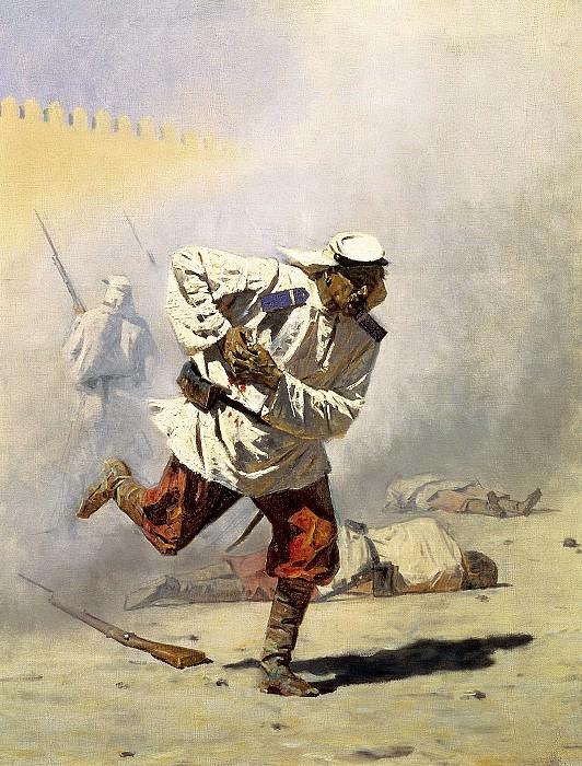 Vereshchagin Vasily (Vasilyevich) - Mortally wounded. 900 Classic russian paintings