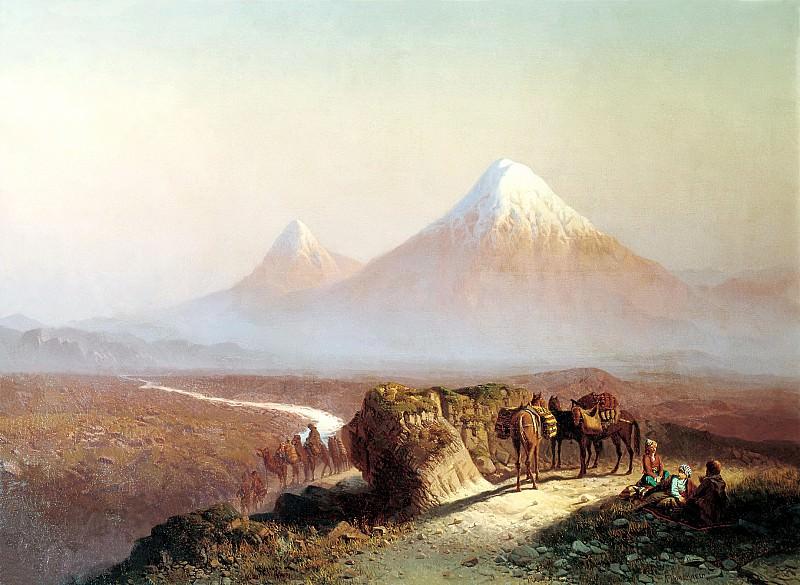 ZANKOVSKY Ilya - In the mountains. View Ararat. 900 Classic russian paintings