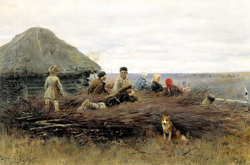 Alexei Stepanov - Children on firewood. 900 Classic russian paintings