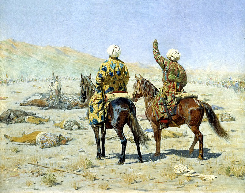 Vereshchagin Vasily (Vasilyevich) - The negotiators. Surrender! - Go to hell!. 900 Classic russian paintings
