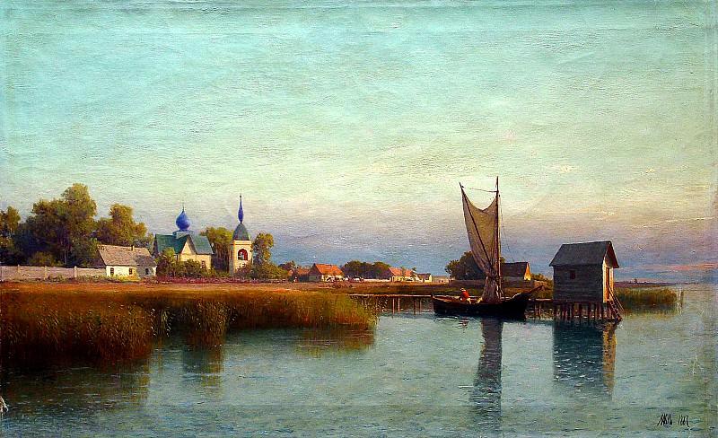 ЛАГОРИО Лев - Вид городка со стороны реки. 900 Картин самых известных русских художников