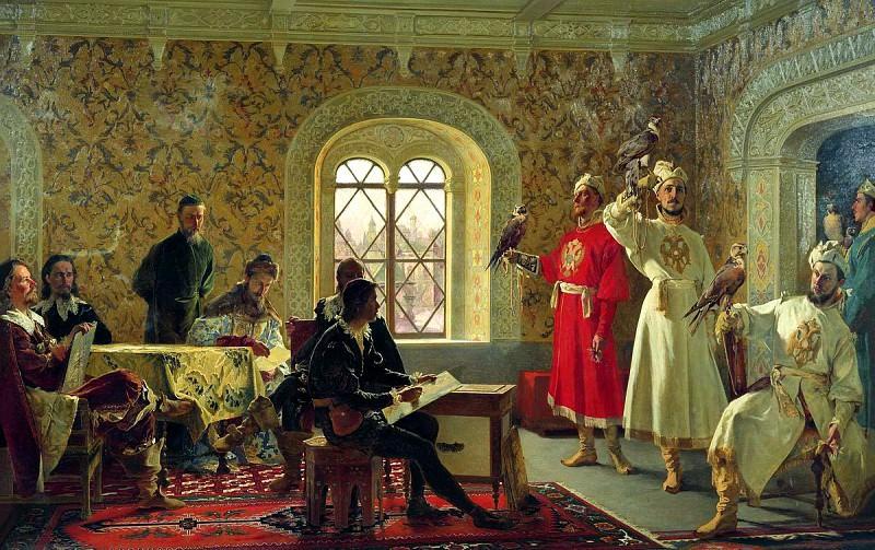 Lytovchenko Alexander - Italian envoy Kalvuchchi sketches favorite falcons Tsar Aleksei Mikhailovich. 900 Classic russian paintings