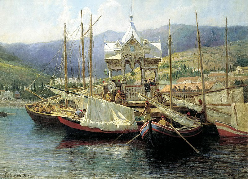 Miasoyedov Gregory - Pier in Yalta. 900 Classic russian paintings