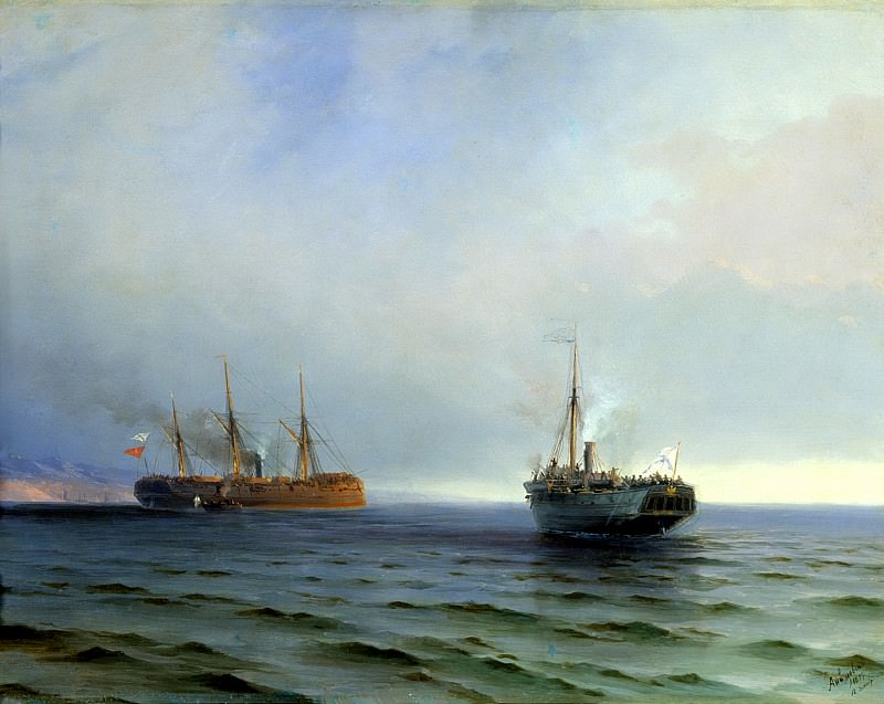 Ivan Aivazovsky - The seizure of ship Russia of the Turkish military traffic, Messina in the Black Sea on Dec. 13, 1877. 900 Classic russian paintings
