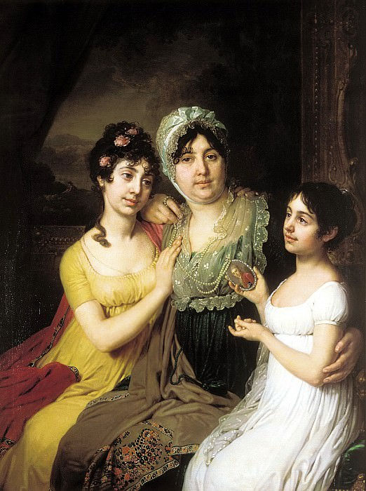 Borovikovsky Vladimir - Portrait of Countess Anna Ivanovna Bezborodko with their daughters with love and Cleopatra. 900 Classic russian paintings