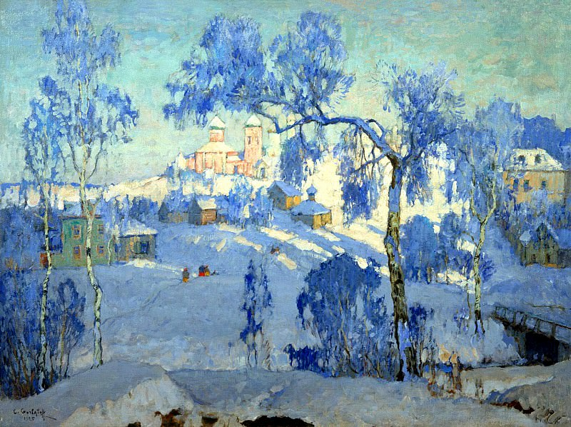 Gorbatov Constantine - Winter landscape with church. 1925. 900 Classic russian paintings