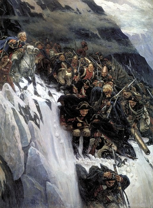 Surikov Vasily - Suvorov Crossing the Alps in 1799. 900 Classic russian paintings