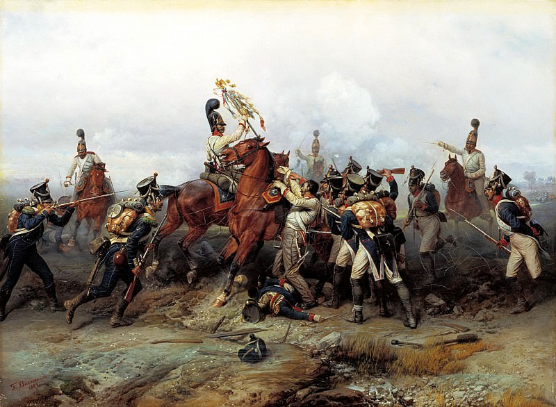 Villevalde Bogdan - Feat cavalry regiment in the battle of Austerlitz in 1805. 900 Classic russian paintings