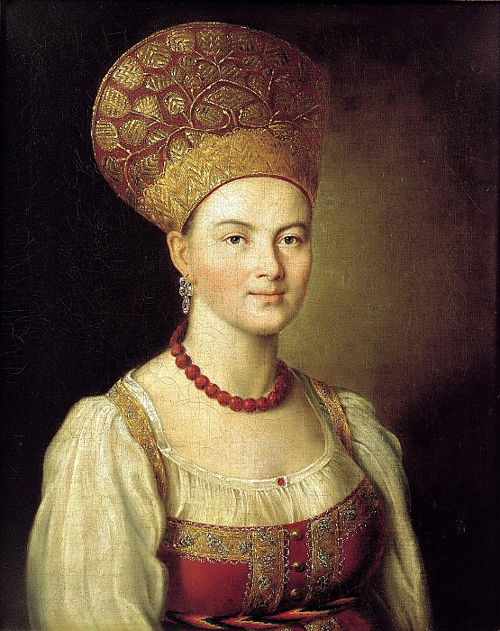 Argun Ivan - Portrait of an unknown peasant woman in Russian costume. 900 Classic russian paintings