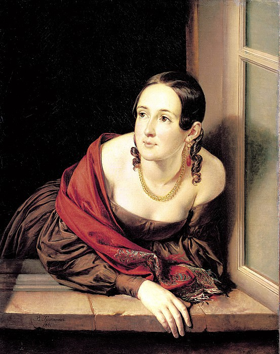 Tropinin Basil - A woman in the window (treasurer). 1841. 900 Classic russian paintings
