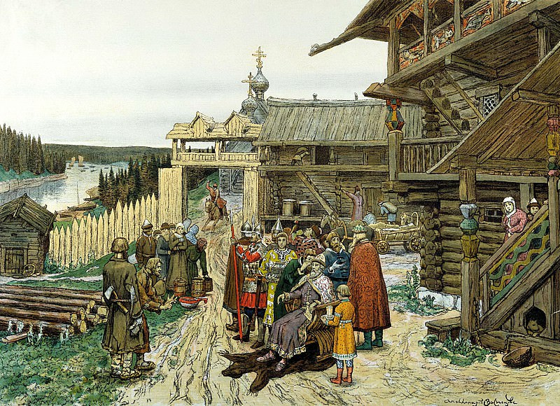 Vasnetsov Apollinary - The yard of the local prince. 900 Classic russian paintings