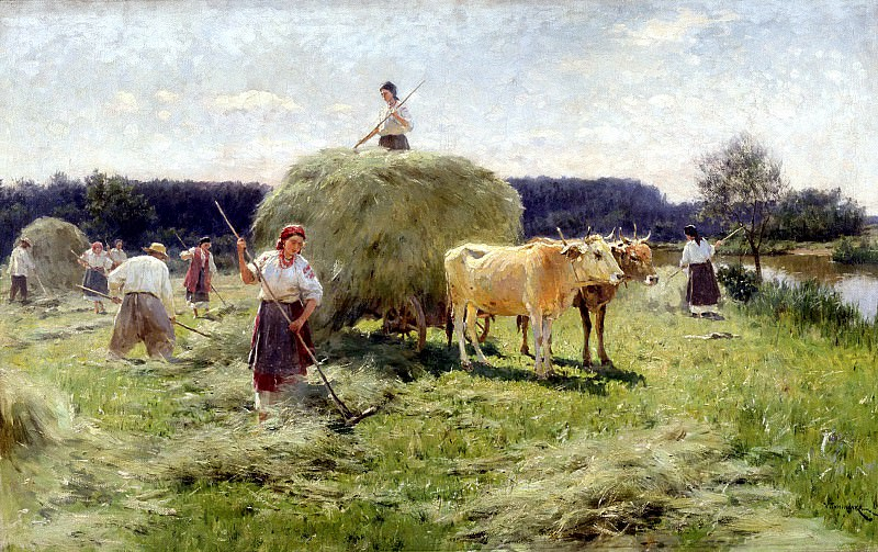 Pimonenko Nick - haymaking. 900 Classic russian paintings
