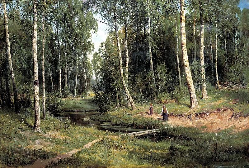 Shishkin Ivan - Stream in a birch forest. 900 Classic russian paintings