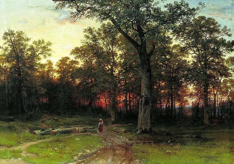 Shishkin Ivan - Wood in the evening. 900 Classic russian paintings