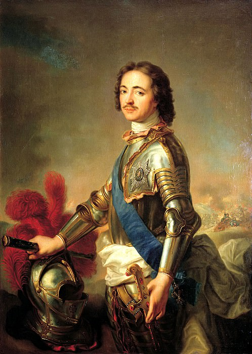 Jean Marc Nattier - Portrait of Peter I in knightly armor. 900 Classic russian paintings