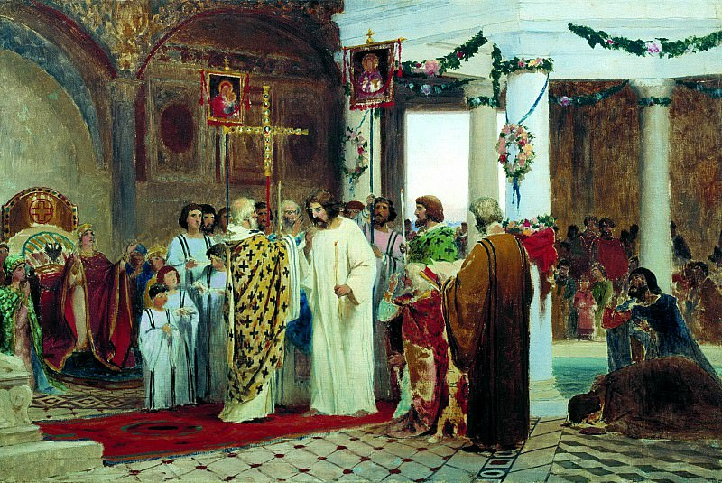 Bronnikov Fedor - The Baptism of Prince Vladimir. 900 Classic russian paintings