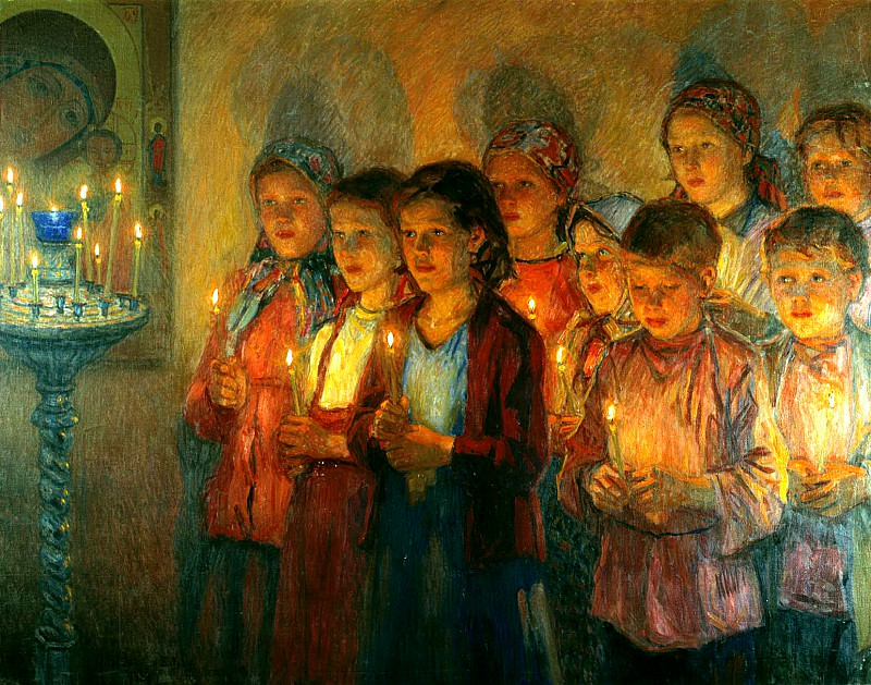 Bogdanov-Belsky Nikolai - The Church. 900 Classic russian paintings