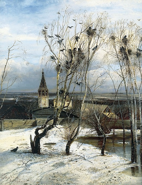 Alexei Savrasov - Rooks Have Arrived. 900 Classic russian paintings