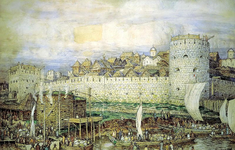 Vasnetsov Apollinary - Moscow Kremlin under Dmitry Donskoy. 900 Classic russian paintings