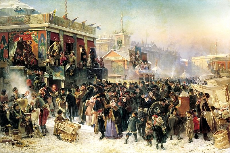 MAKOVSKY Constantine - festivities in the Carnival on the Admiralty Square in St. Petersburg. 900 Classic russian paintings