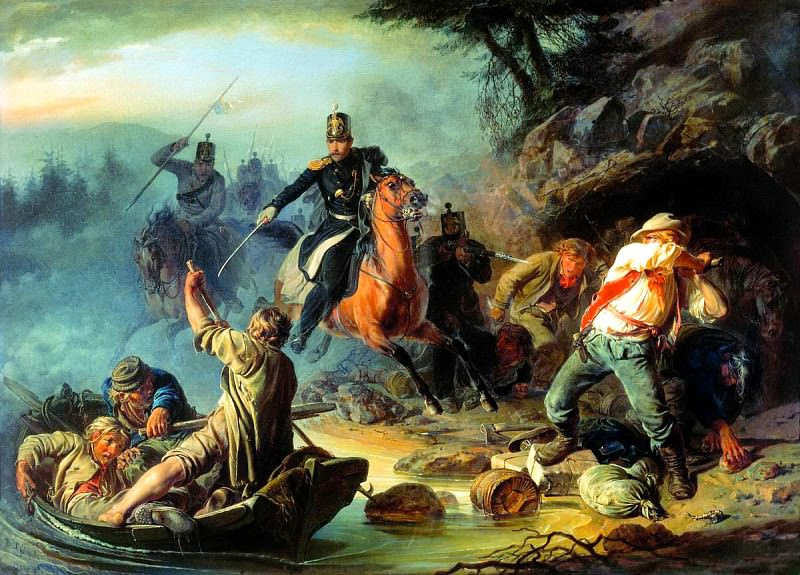 KHUDYAKOV Basil - Skirmish with Finnish Smugglers. 900 Classic russian paintings