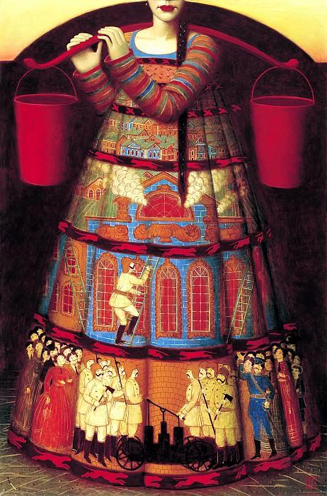 РЕМНЁВ Андрей - «Пожар-девка». 900 Картин самых известных русских художников
