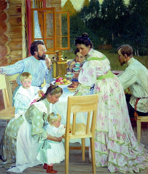 Kustodiyev Boris - On the terrace. 900 Classic russian paintings