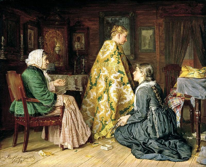 Maximov Vasiliy - Trying robe. 900 Classic russian paintings