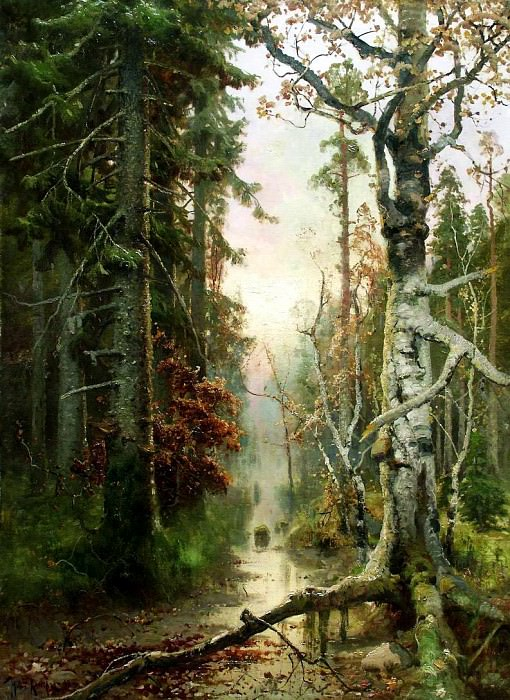Klever Julius - Autumn in the woods. 900 Classic russian paintings