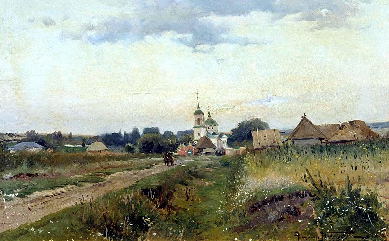 MAKOVSKY Alexander - Landscape with Church. 900 Classic russian paintings