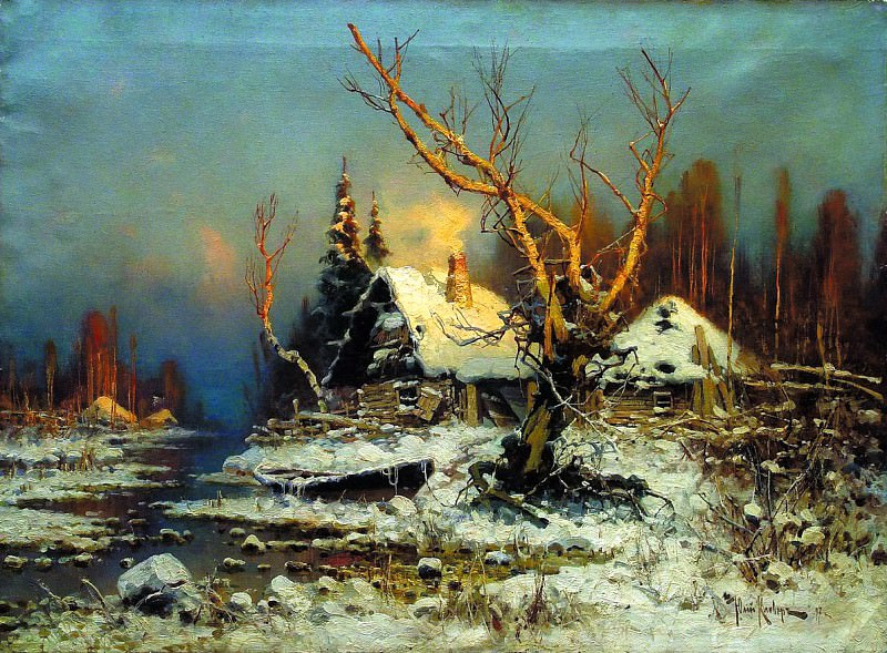 Klever Julius - Winter landscape with a hut. 1. 900 Classic russian paintings