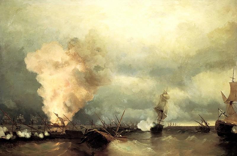 Ivan Aivazovsky - Sea battle at Vyborg, June 29, 1790. 900 Classic russian paintings