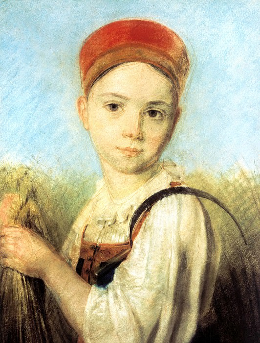 Venetsianov Alexei - Country Girl with a sickle in the Rye. 900 Classic russian paintings