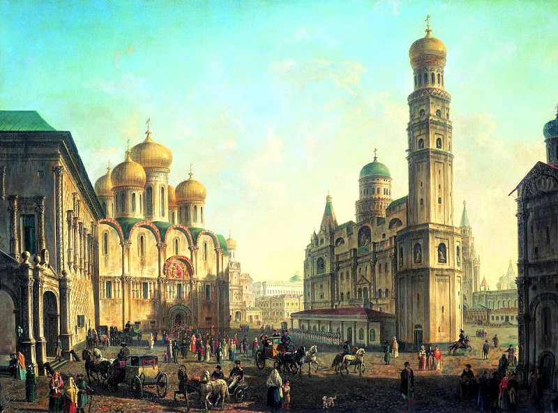 Fedor Alekseev - Cathedral Square in the Moscow Kremlin. 900 Classic russian paintings