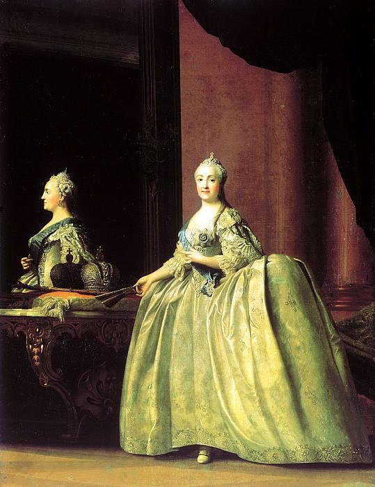 Eriksen Vigilius - Portrait of Catherine II before the mirror. 900 Classic russian paintings
