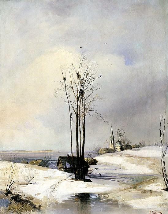 Alexei Savrasov - Thaw. 900 Classic russian paintings