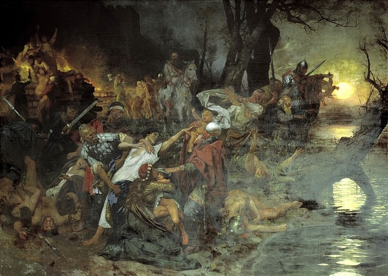 Semiradsky Henry - Sviatoslav Trizna warriors after the battle under Dorostolom in 971. 900 Classic russian paintings