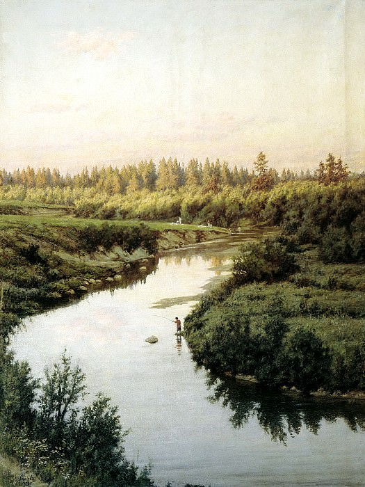 BRYULLOV Paul - Landscape with a River. 900 Classic russian paintings