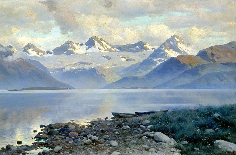 Kryzhitsky Constantine - Lake in the mountains. 900 Classic russian paintings