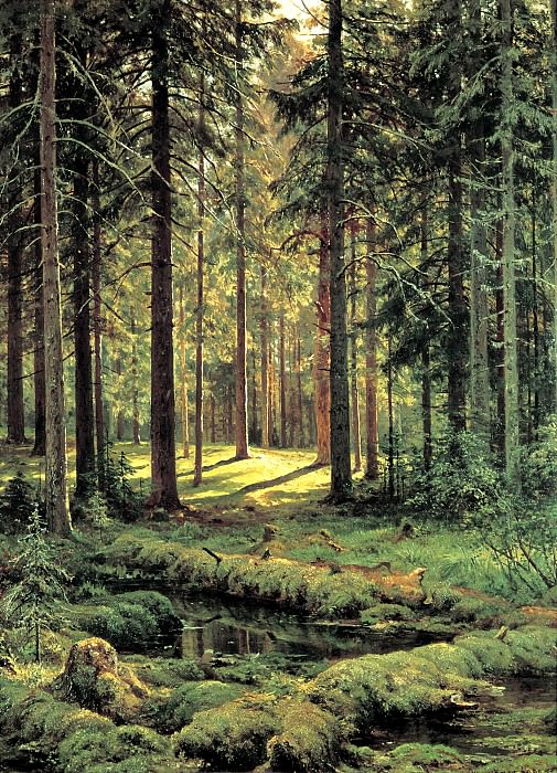 Shishkin Ivan - Coniferous Forest. Sunny Day. 900 Classic russian paintings