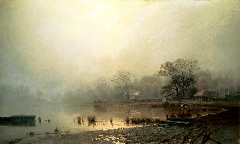 Brick Leo - Fog. Red Pond in Moscow in the autumn. 900 Classic russian paintings