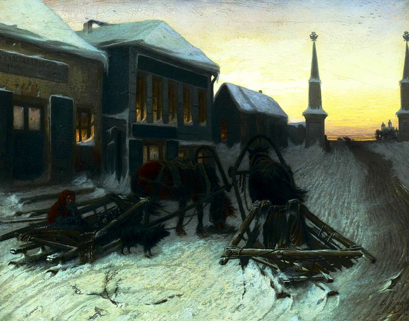 Perov Vasily - Last Tavern at Town Gate. 900 Classic russian paintings