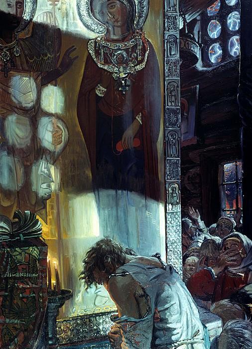 Ivan Glazunov - Procopius Ustyug prayer assigns a cloud of stone from the city Ustyug. 900 Classic russian paintings