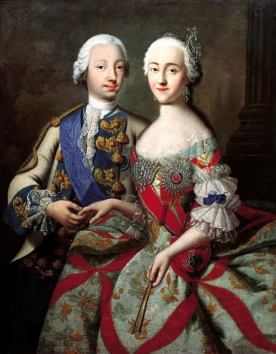 Groot Georg - Portrait of Tsarevich Peter Fedorovich and Grand Duchess Catherine Alekseevna. 1740-e. 900 Classic russian paintings
