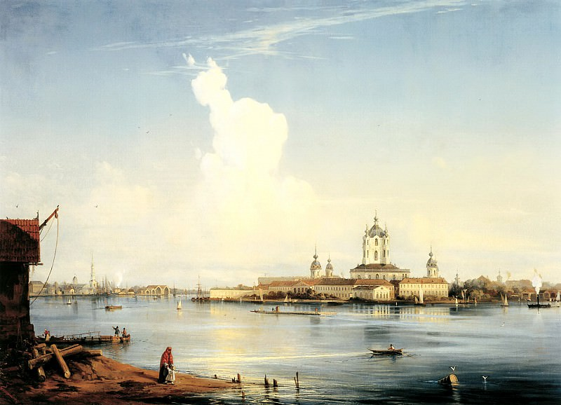 Bogolyubov Alexey - View of the Smolny Convent from the Great Ohta. 900 Classic russian paintings