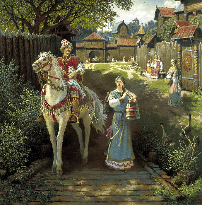 Boris Olshansky - Alyosha Popovich and Elena Krasa. 900 Classic russian paintings