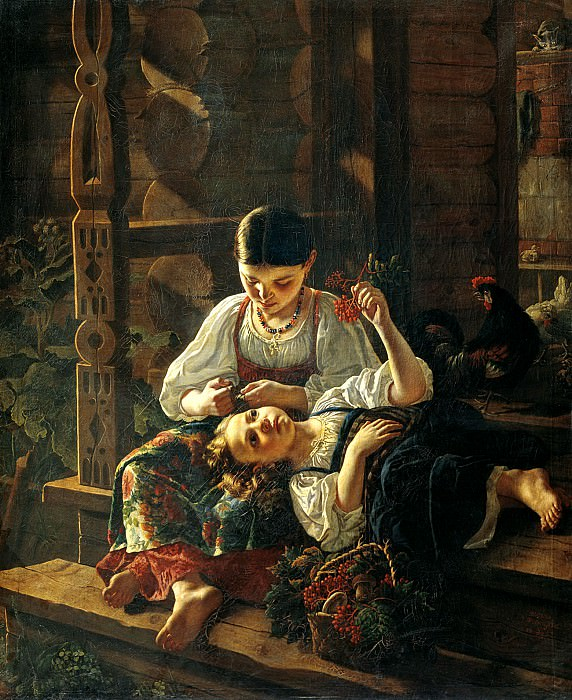 FELITSYN Rostislav - On the porch of the house. 900 Classic russian paintings