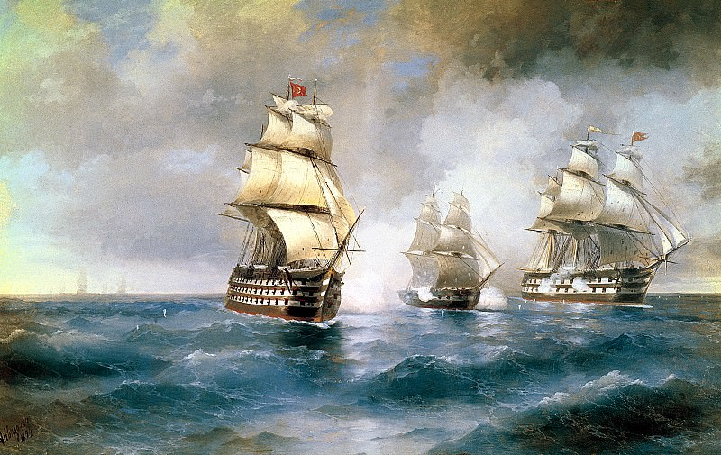 Ivan Aivazovsky - Brig Mercury Attacked by Two Turkish Ships. 900 Classic russian paintings