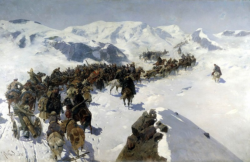 Franz Roubaud - Transition prince Argutinsky through the Caucasus range. 900 Classic russian paintings