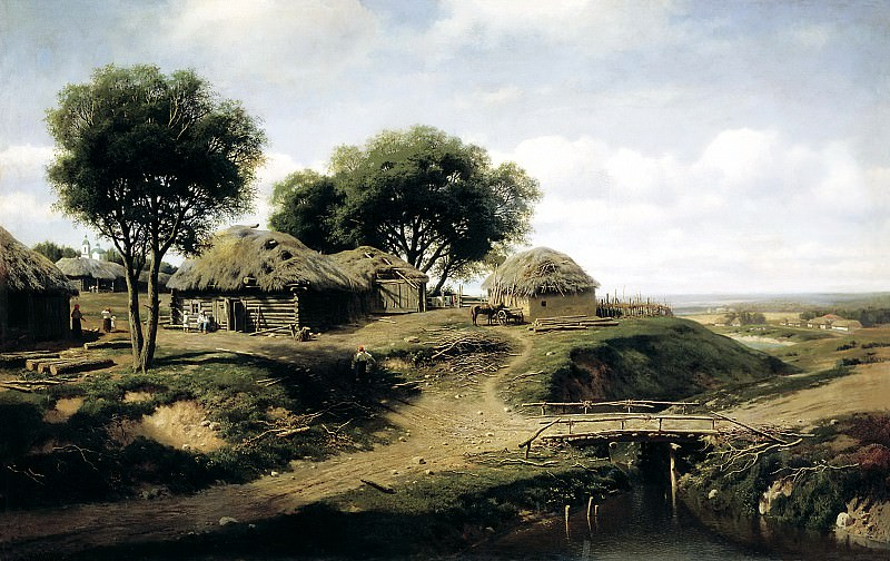 Klodt Mikhail (K.) - The village in the province of Orel. 1864. 900 Classic russian paintings